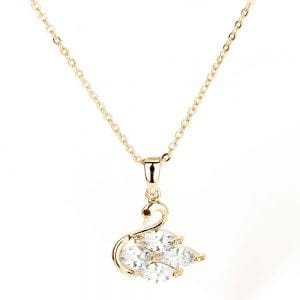 AGN0030 - Sparkling Gold Plated Crystal Swan Necklace