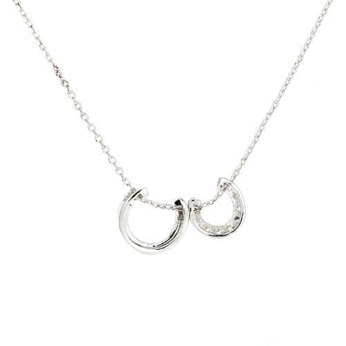 AGN0031 - Sparkling Silver Plated Crystal Fashion Necklace