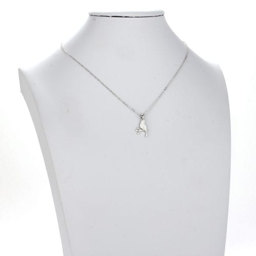 AGN0033 - Silver Plated Crystal Bird Necklace