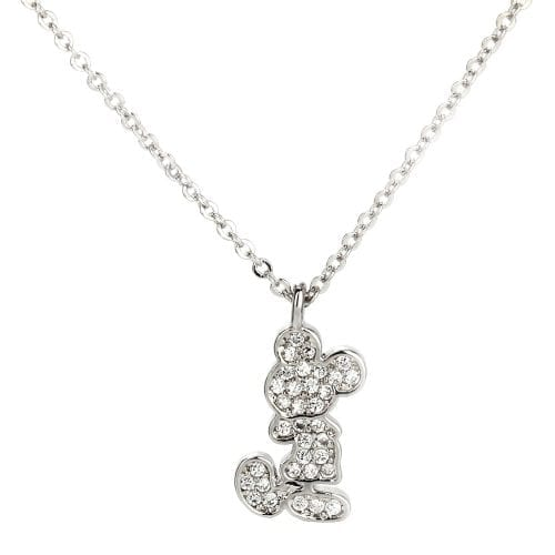 AGN0035 - Silver Crystal Mickey Mouse Necklace