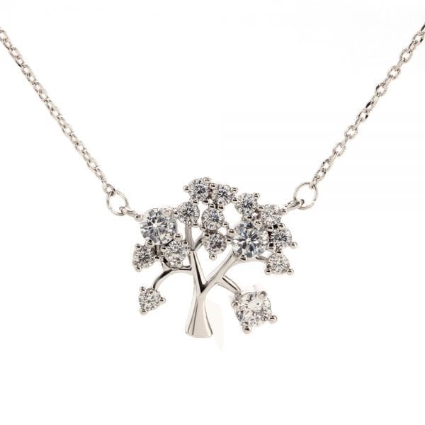 AGN0044 - Sparkling Silver Plated Crystal Tree Necklace