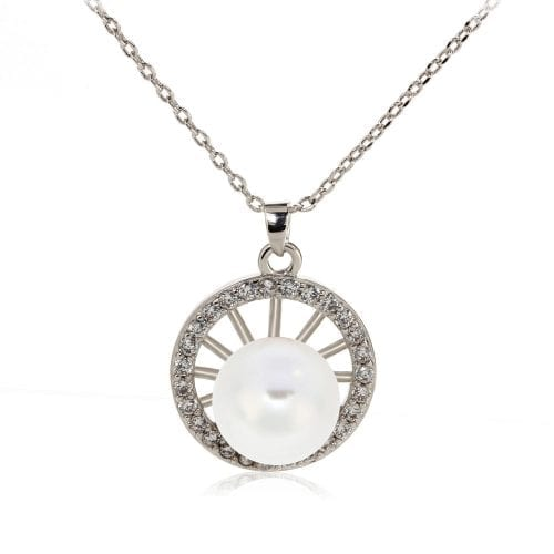 AGN0049 - Silver Sparkling Crystal Pearl Circle Necklace