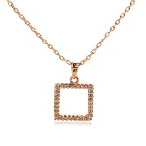 AGN0051 - Gold Sparkling Crystal Square Necklace