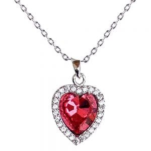 AGN0037 - Crystal Red Heart Necklace