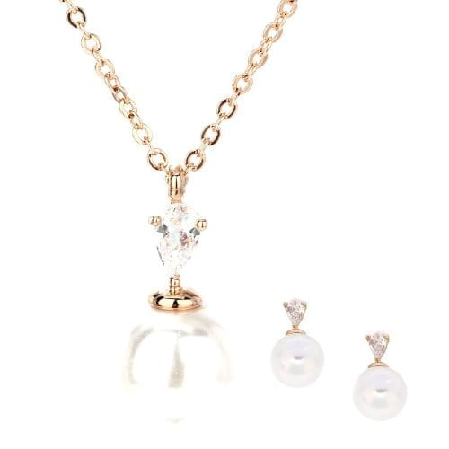 AGNE010 - Gold Plated Pearl Necklace & Earrings Jewelry Set