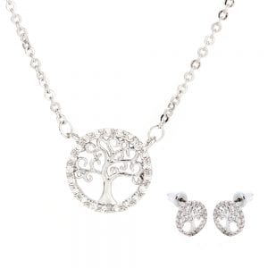 AGNE011 - Silver Plated Tree Of Life Necklace & Earrings Jewelry Set