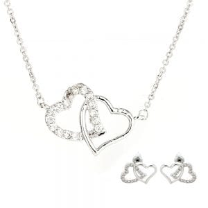 AGNE013 - Silver Intertwined Hearts Necklace & Earrings Jewelry Set