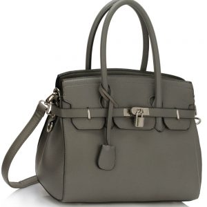 LS00140E - Grey Padlock Tote With Long Strap