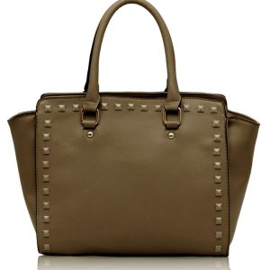 LS00150S - Nude Shoulder Handbag With Studs Details