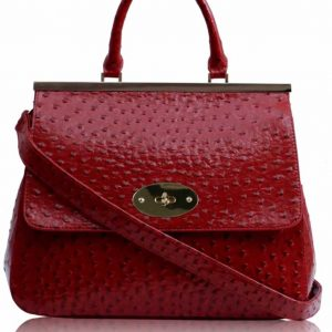 LS00174A - Ostrich Red Twist-Lock Closure Satchel