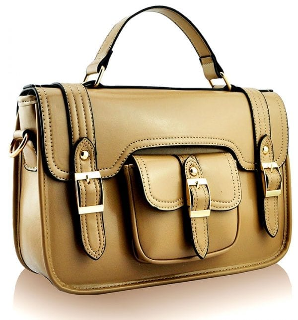 LS001A - Nude Classic Buckle Satchel With Long Strap