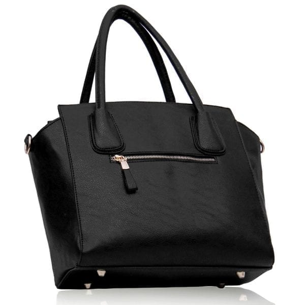 LS00205 - Black / White Tote Bag With Studs Detail