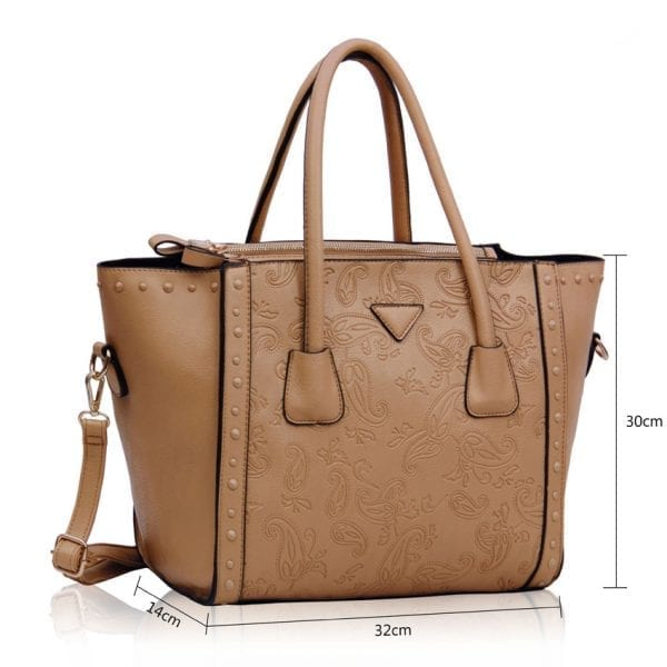 LS00213 - Nude Tote Bag With Studs Decoration