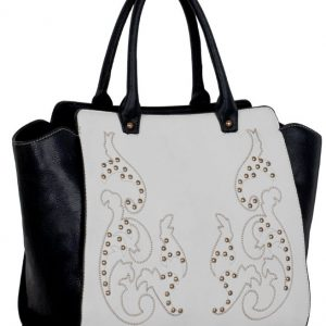LS00216 - Black / White Double Handle Grab Tote
