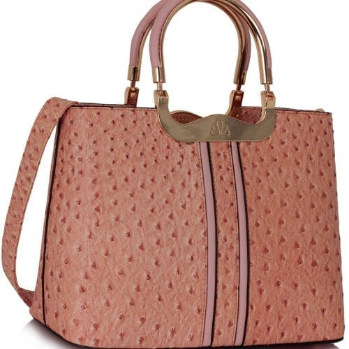 LS00304 - Nude Ostrich Effect Grab Tote