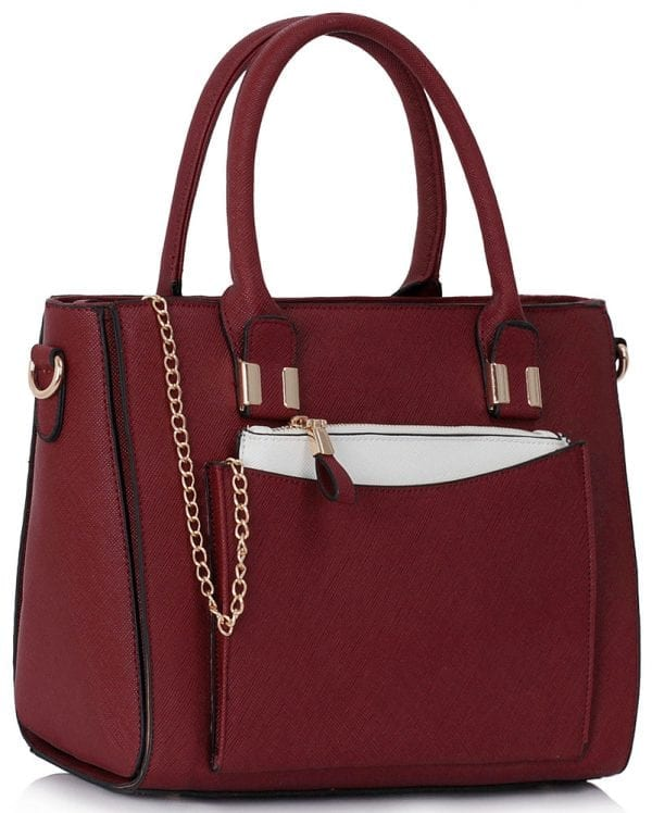 LS00313 - Burgundy Tote With Removable Pouch