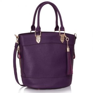 LS00321 - Purple Tassel Charm Shoulder Tote Bag