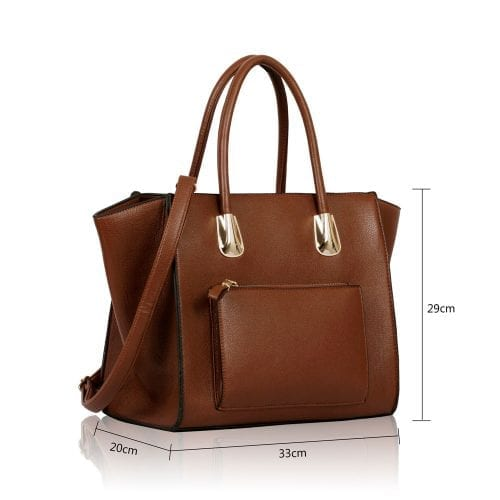 LS0059 - Brown Front Pocket Tote Handbag