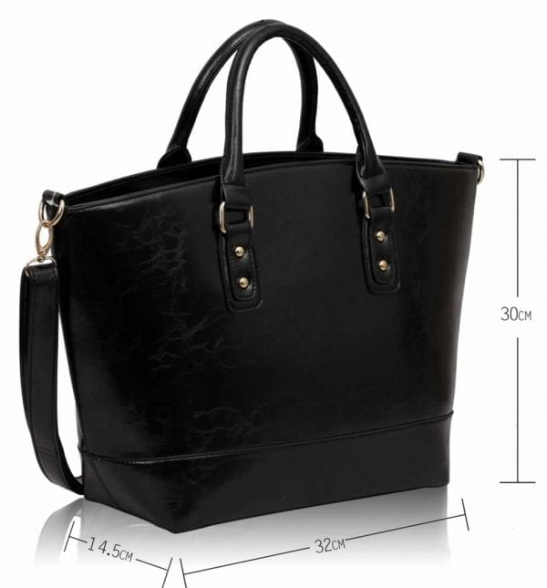 LS0085A- Black Fashion Tote With Long Strap