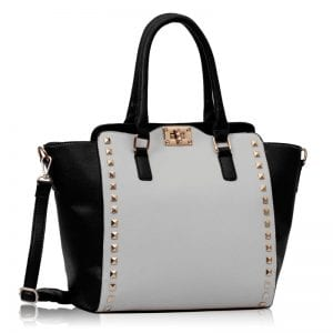 LS0092B - Black / White  Double- Handle Shoulder Tote Bag