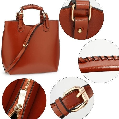 LS00267 - Brown Ladies Fashion Tote Handbag