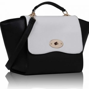 LS00116 - Black /White Flap Satchel