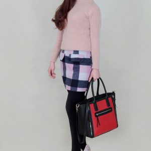 LS00133 - Black / Red Zip Design Tote Bag