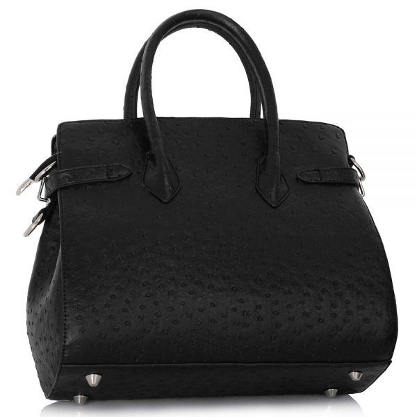 LS00140A  - Luxury Black Ostrich Effect Tote Bag