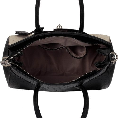 LS00140A  - Luxury Black/White/Red Ostrich Effect Tote Bag