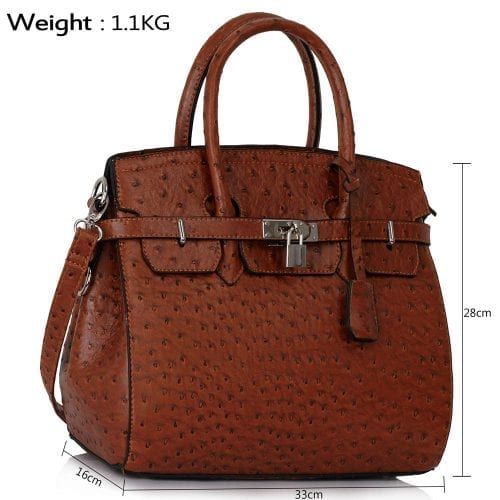 LS00140A  - Luxury Brown Ostrich Effect Tote Bag