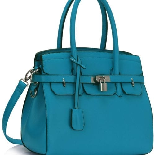 LS00140E - Teal Padlock Tote With Long Strap