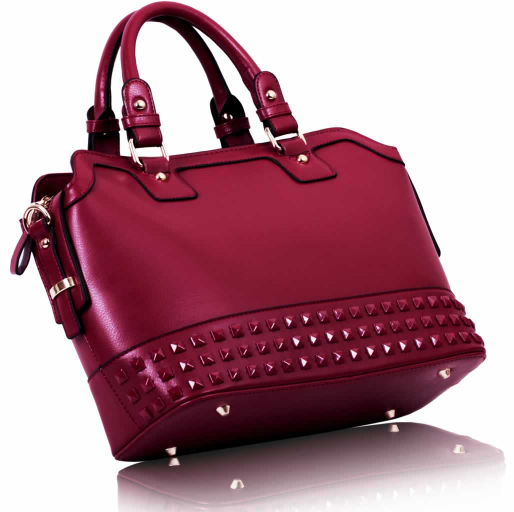 LS00157A - Burgundy Fashion Tote Handbag