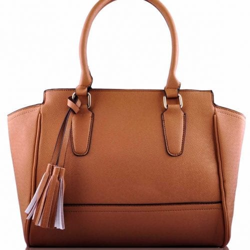 LS00169- Tan Tassel Grab Tote Bag