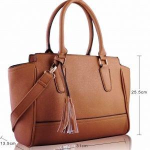 LS00169- Tan Tassel Grab Tote Bag