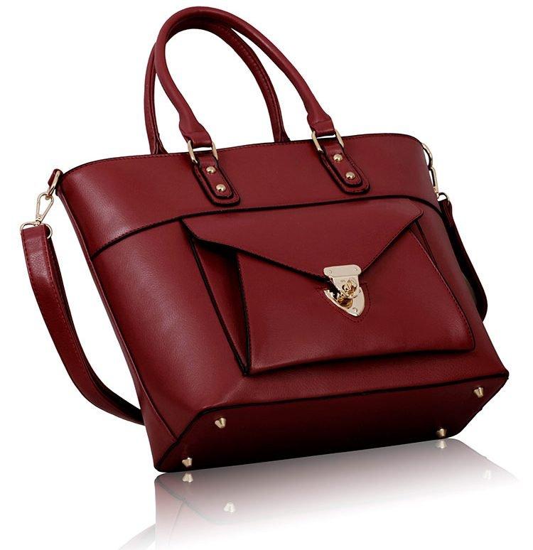 LS00181 - Burgundy Twist Lock Shoulder Handbag