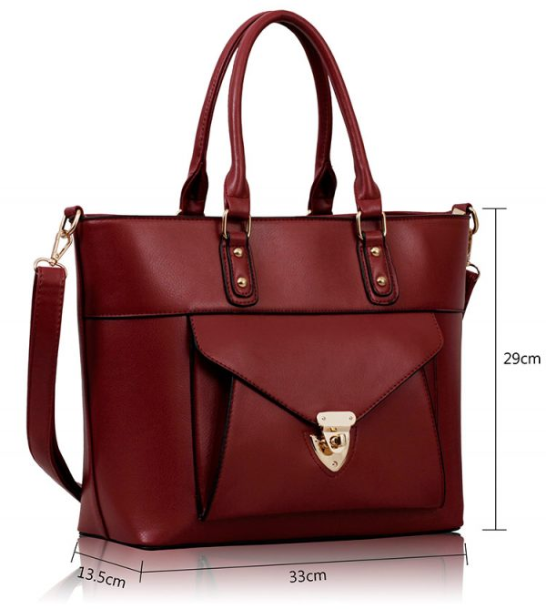 LS00181 - Burgundy Twist Lock Shoulder Handbag