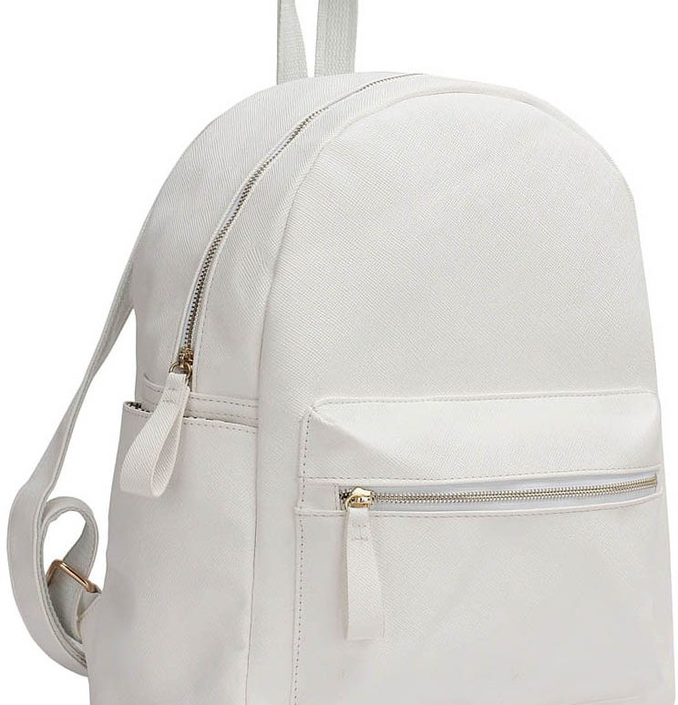 LS00186A  - White Backpack Rucksack School Bag