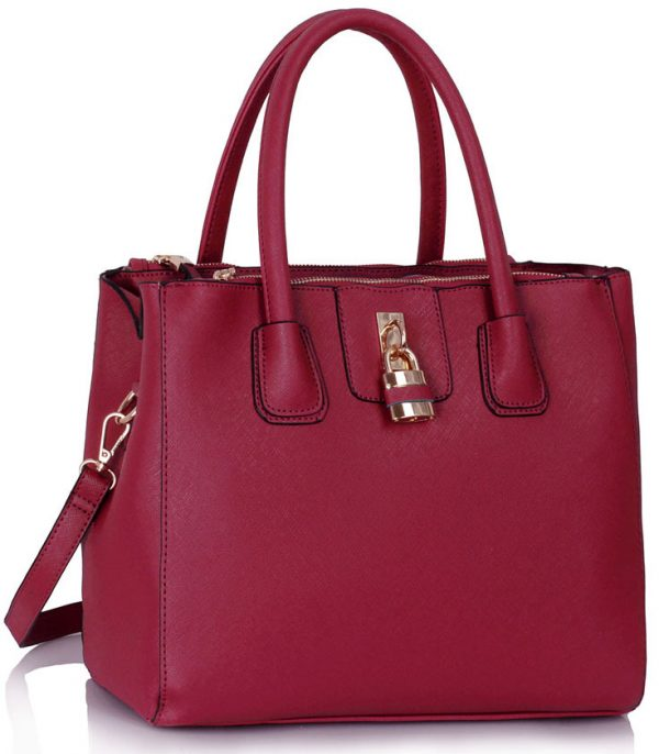LS00195A - Burgundy Three Zipper Grab Bag