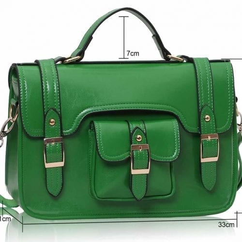 LS001A - Green Classic Buckle Satchel With Long Strap