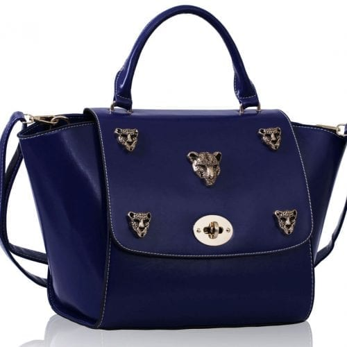 LS00211A - Blue Leopard Head Rivets Flap Bag