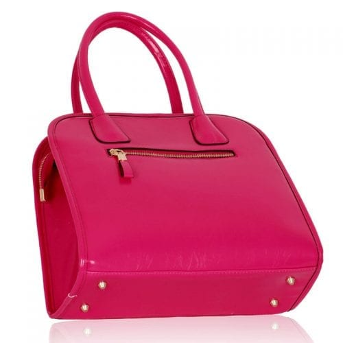 LS00246- Fuchsia Satchel With Big Pocket on The Front