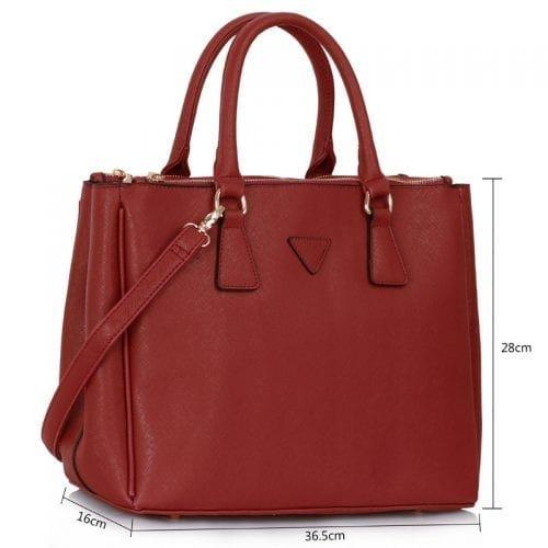 LS00260  - Burgundy Grab Tote Handbag