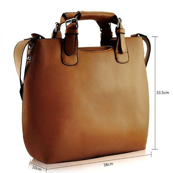LS00267 - Tan Ladies Fashion Tote Handbag