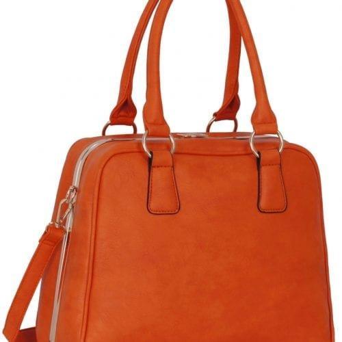 LS00299 - Metal Frame Orange Tote Bag