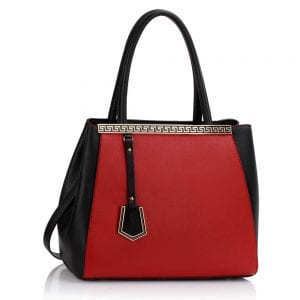 LS0030 - Black / Red Metal Frame Fashion Tote Bag