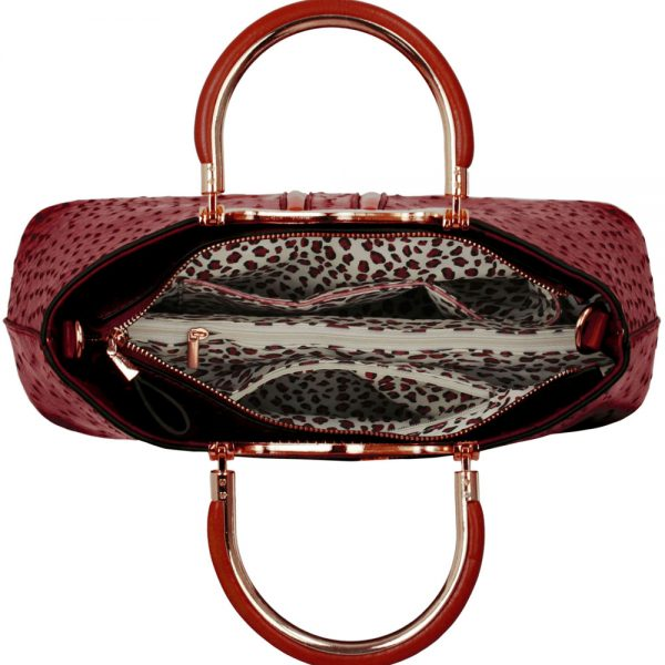 LS00304 - Red Ostrich Effect Grab Tote