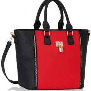 LS0031A- Black/ Red Padlock Tote