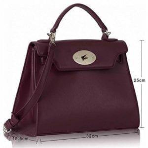 LS0033A - Burgundy Classic Tote Shoulder Handbag