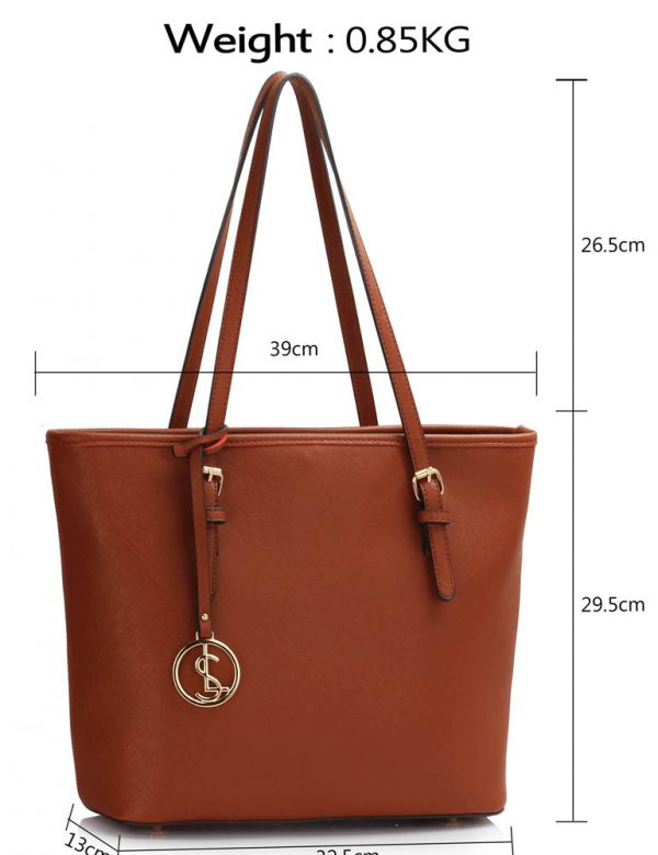 LS00362 - Brown Tote Bag With Metal Accessories