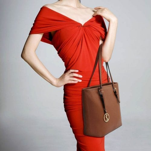 LS00362 - Brown Tote Bag With Metal Accessories